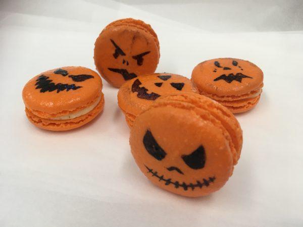 Halloween Jack o Lantern decorated macaroons