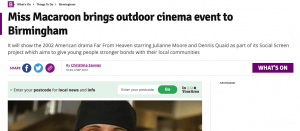 Screenshot of Birmingham Live article talking about Miss Macaroon's Outdoor Cinema Event