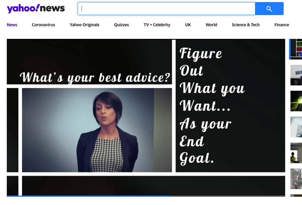 Yahoo News screenshot of Business Advice video featuring Rosie Ginday