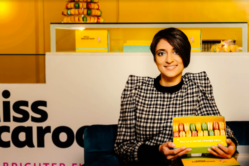 Rosie Ginday MBE with a box of macaroons in the Miss Macaroon store