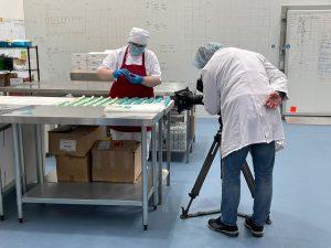 Miss Macaroon kitchen staff filmed by BBC crew.
